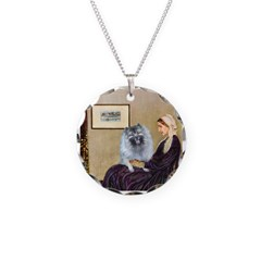 Mom's Keeshond (F) Necklace Circle Charm