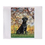 Spring & Black Lab Throw Blanket