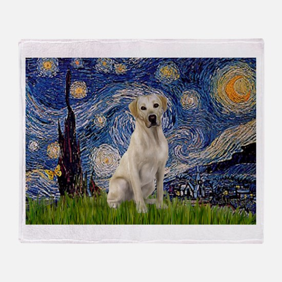 Starry Night Yellow Lab Throw Blanket