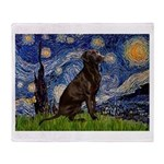 Starry Chocolate Lab Throw Blanket