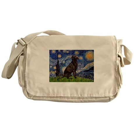 Starry Chocolate Lab Messenger Bag