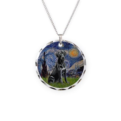 Starry Night Black Lab Necklace Circle Charm