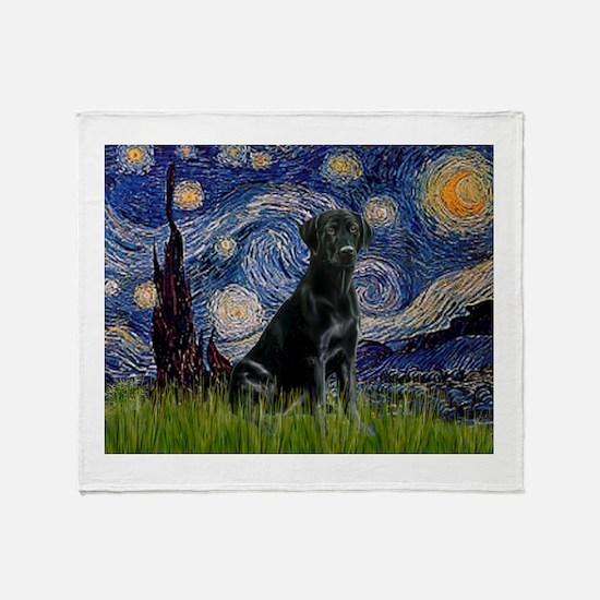 Starry Night Black Lab Throw Blanket