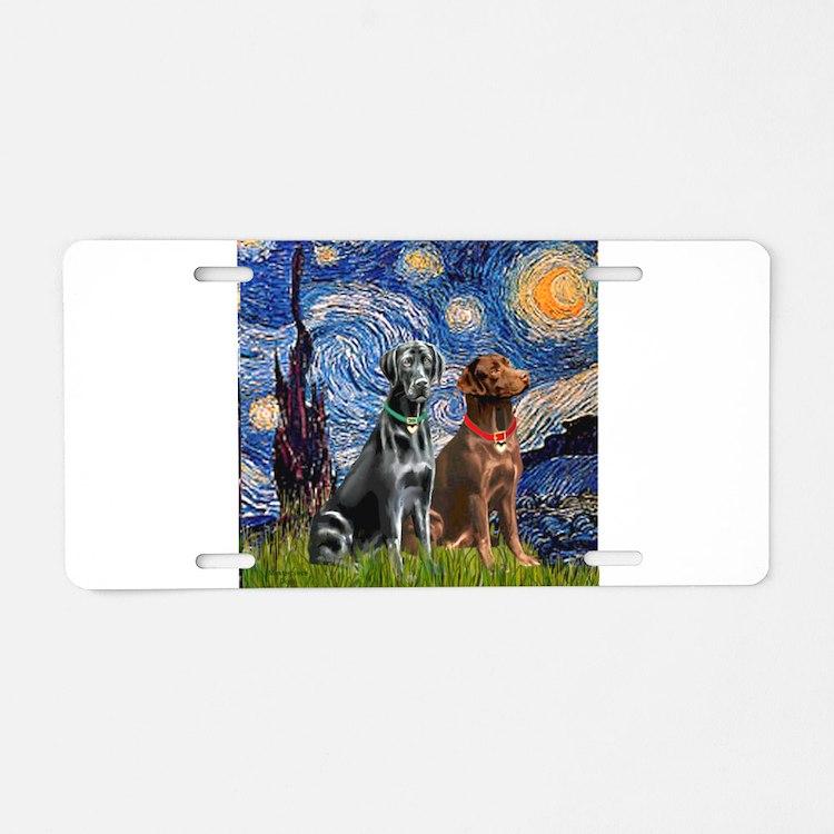 Starry / 2 Labradors (Blk+C) Aluminum License Plat