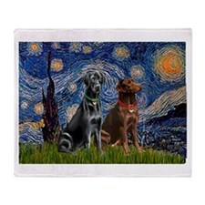 Starry / 2 Labradors (Blk+C) Throw Blanket