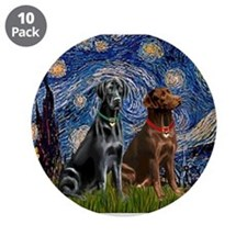 "Starry / 2 Labradors (Blk+C) 3.5"" Button (10 pack)"