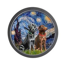 Starry / 2 Labradors (Blk+C) Wall Clock