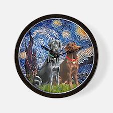 Starry / 2 Labradors (Blk+C) Wall Clock