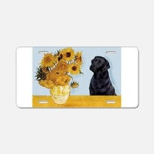 Sunflowers / Lab Aluminum License Plate