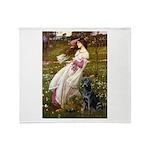 Windflowers & Black Lab Throw Blanket