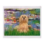 Lilies / Lhasa Apso #9 Throw Blanket