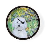Irises / Maltaese (B) Wall Clock