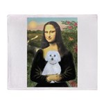 Mona Lisa / Maltese (B) Throw Blanket