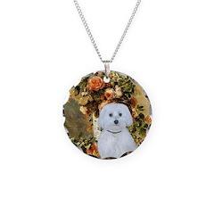 Vase / Maltese (B) Necklace Circle Charm