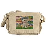 Lilies (2) & Maltese Messenger Bag