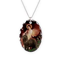 Angel & Newfoundland (B2S) Necklace Oval Charm
