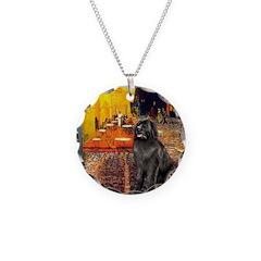 Cafe & Newfoundland Necklace Circle Charm