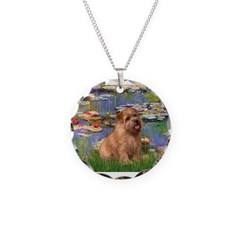 Lilies /Norfolk Terrier Necklace Circle Charm