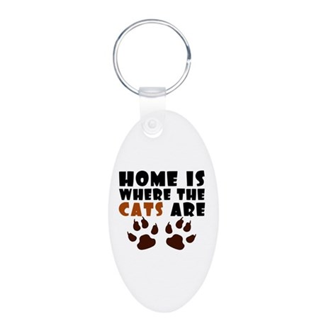 'Where The Cats Are' Aluminum Oval Keychain