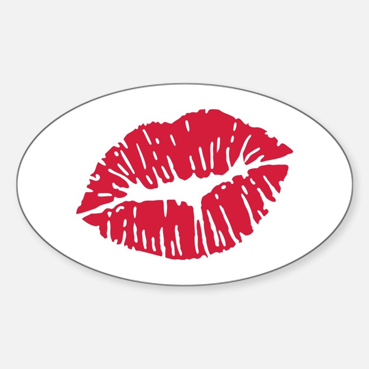 Kiss red lips Sticker (Oval)