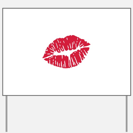 Kiss red lips Yard Sign