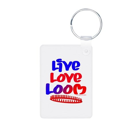 Live Love Loom Aluminum Photo Keychain