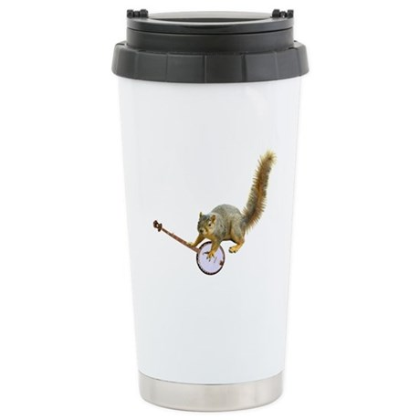 Sqiurrel with Banjo Stainless Steel Travel Mug