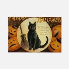Vintage Halloween Black Cat P Rectangle Magnet