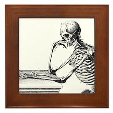 Thinking Skeleton Framed Tile