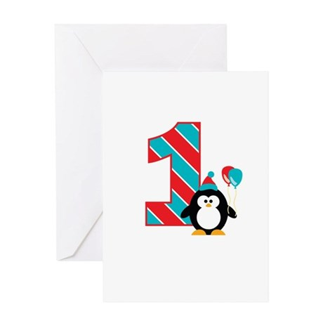 Penguin 1st Birthday Greeting Card