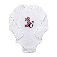 Penguin 1st Birthday Long Sleeve Infant Bodysuit