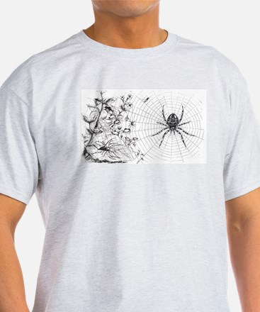 Creepy Spider Web Line Art T-Shirt