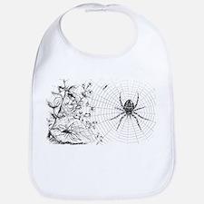 Creepy Spider Web Line Art Bib