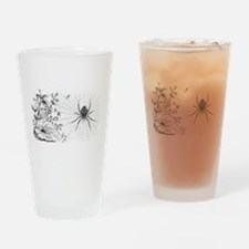 Creepy Spider Web Line Art Drinking Glass