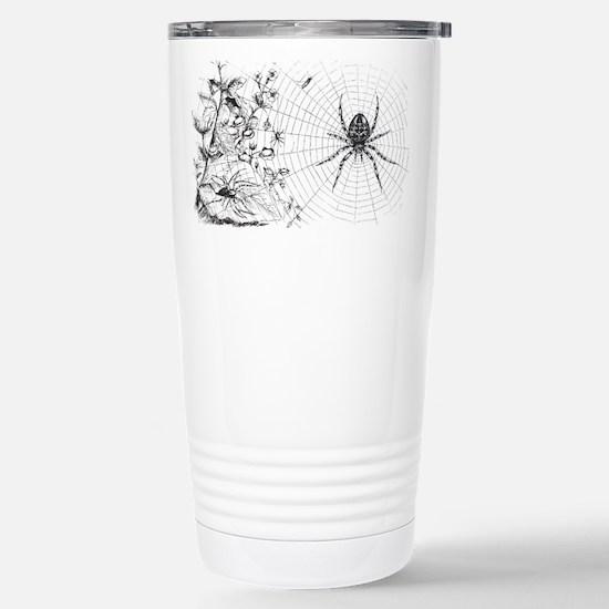 Creepy Spider Web Line Art Stainless Steel Travel