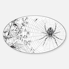 Creepy Spider Web Line Art Sticker (Oval)