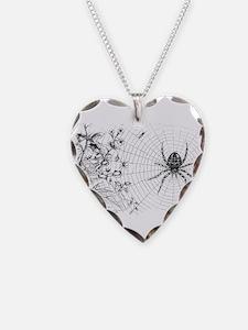 Creepy Spider Web Line Art Necklace