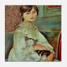 Renoir's Girl with Cat Tile Coaster