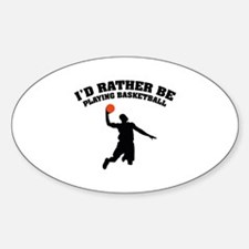 Playing basketball Sticker (Oval)