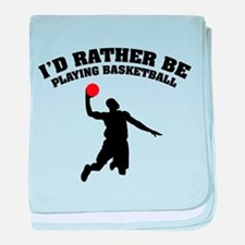 Playing basketball baby blanket