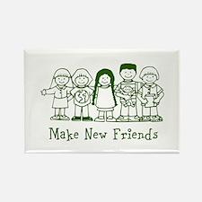 Make New Friends (green) Rectangle Magnet