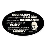 Churchill Socialism Quote Sticker (Oval 10 pk)