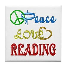 Peace Love Reading Tile Coaster
