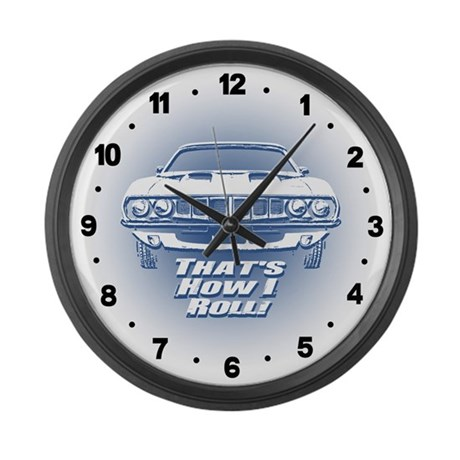 How I Roll - 'Cuda Large Wall Clock