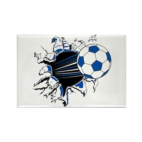 Soccer Ball Burst Rectangle Magnet