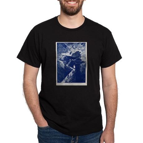 Jules Verne Airship to the Mo Dark T-Shirt