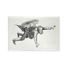 Steampunk Flying Man Rectangle Magnet