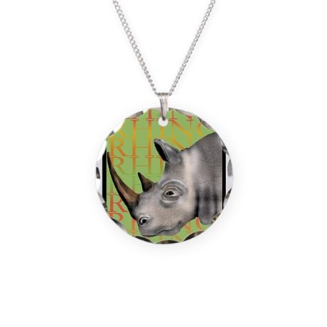 Rhino Necklace Circle Charm