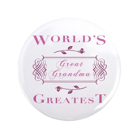 "World's Greatest Great Grandma (Rose) 3.5"" Button"