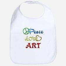 Peace Love Art Bib